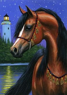 Bay arabian horse lighthouse ocean moon limited edition aceo print art by Bridget Voth