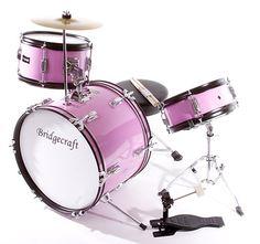 This Pink De Rosa Three-Piece Kid's Drum Set by BridgecraftUSA is perfect!