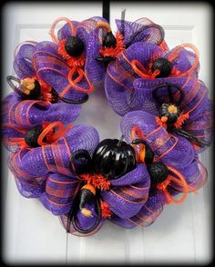 Halloween Wreath  Fall wreath  Deco Mesh by SparkleWithStyle