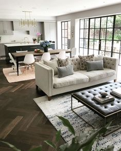 What a space, we love the dark herringbone floor paired with the natural li. What a space, we love the dark herringbone floor paired with the natural linen of our Haresfield sofa. Image via: Open Plan Kitchen Dining Living, Open Space Living, Open Plan Living, Living Room Kitchen, Living Room Decor, Living Spaces, Sofa In Kitchen, Open Plan House, Living Room And Kitchen Together