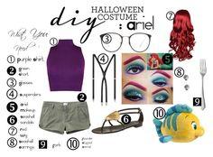 """Halloween Costume :Ariel"" by stargirltori ❤ liked on Polyvore featuring WearAll, RVCA, Yves Saint Laurent, Linda Farrow, Dolce Vita, Disney and Giuseppe Zanotti"