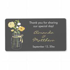 Yellow and Grey Mason Jar Wedding Favor Labels