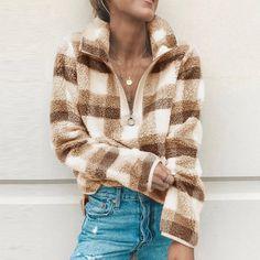 Etc Long Zip Street Plaid Front Outwear Women Casual Autumn Sweatshirt Outdoor Coat Winter Pullover Casual Sleeve R XL Hoodie Sweatshirts, Hoodies, Winter Soldier, Streetwear, Outdoor Coats, Pullover, Types Of Sleeves, 1 Piece, Blouse