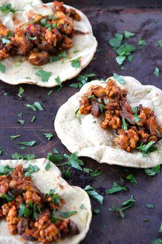 Mushroom Tempeh Tacos | @andwhatelse