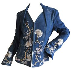 """Christian Dior Embellished """"Bar"""" Denim Jacket by John Galliano Embroidery On Clothes, Embroidery Ideas, Machine Embroidery, Demin Jacket, Recycle Jeans, Scarf Dress, Tailored Jacket, John Galliano, Vintage Jacket"""