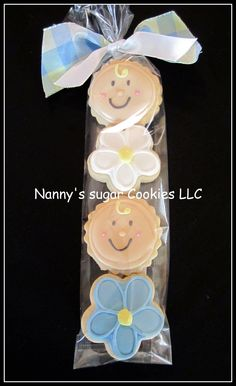 Mini Baby Shower cookies - baby face #flower