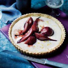 Port-Glazed Pear Tart with Rosemary-Cornmeal Crust | CookingLight.com