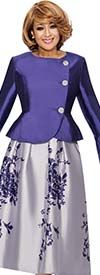 DCC - DCC712-Purple - Floral Skirt Suit With Peplum Jacket & Bell Cuffs