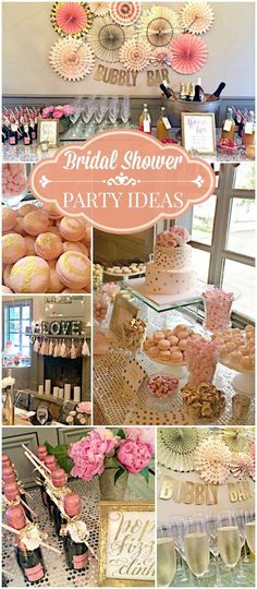 Such a pretty pink and gold bubbly bar bridal shower! See more party ideas at CatchMyParty.com!