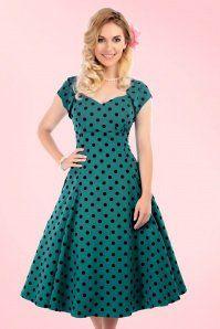 c3058ba1bd03f4 Collectif Clothing Regina Polkadot Flock Print Dress Teal 16120 20150625 1  Jaren 40 Jurken