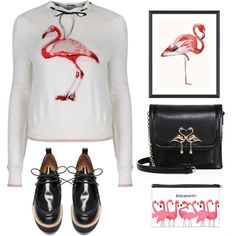 """be A flamingo in a flock of pigeons"" by katymill on Polyvore featuring 'Destiny' Flamingo Print Cream and Pink Knitted Sweater, Sophia Webster, Vintage Print Gallery, print, animal, flamingo and flamingotop"