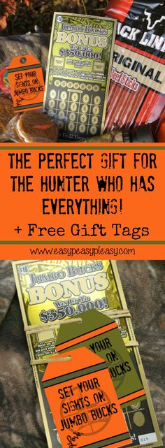 Free printable gift tags and the perfect gift for the hunter who has everything. See how I surprised my favorite hunter with Arkansas Scholarship Lottery Scratch Off Tickets.