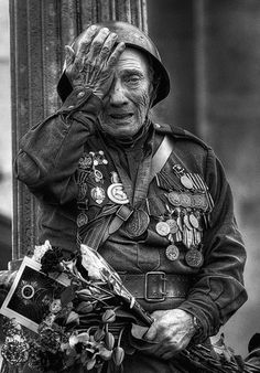 . old person WW1 / or WW2 --- continual state of Post Traumatic Stress Disorder.   PTSD