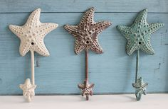 Cute cottage style starfish & sea horse hooks are finished in white, brown, and green tones to add to any beach themed decor. Made of heavy metal it's great for use as a key ring, coat hook or even towel hanger by the pool or in the bathroom. Have fun decorating with a combination of these NEW metal designer hooks.