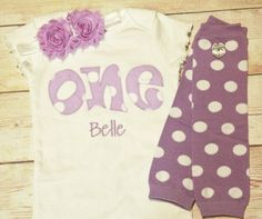 "Lavender Birthday ""One"" Outfit for Girls First Birthday - 1st Birthday Shirt - Lavender and White Polka Dot- Matching Headband"