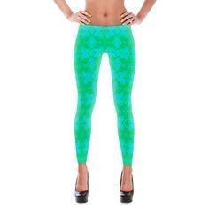 Teal & Green Pattern Leggings