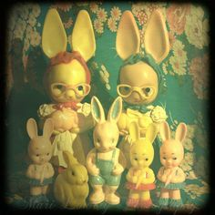 20% Off Black Friday Sale, Colorful Vintage Plastic Rabbit Collection Print, All Bunnies Go to Heaven, Easter Art