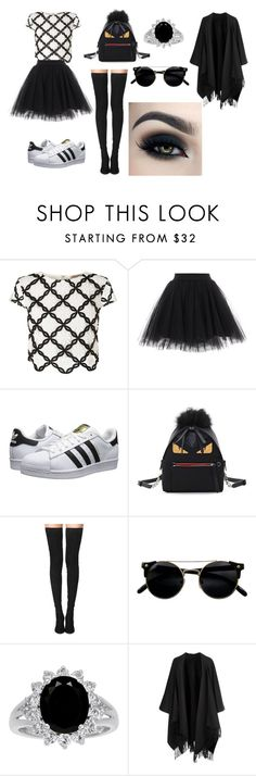 """camera book oufit12"" by bellapaige-clxxi on Polyvore featuring Lipsy, adidas Originals, Fendi, Tamara Mellon and Acne Studios"