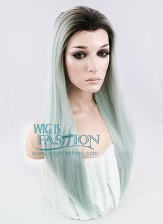 """24"""" Long Straight Light Blue Green With Dark Roots Ombre Lace Front Synthetic Hair Wig LF1208"""