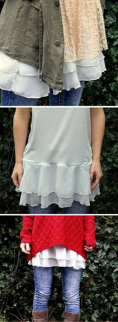Sewing Clothes Patterns Camisole extender with chiffon. Could make this from an old tank top or camisole with any kind of frilly fabric at the bottom. Meme Costume, Sewing Hacks, Sewing Tutorials, Sewing Projects, Chiffon, Clothing Patterns, Sewing Patterns, Diy Fashion, Ideias Fashion