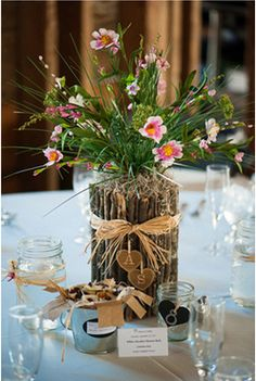 twig and flower country wedding centerpiece