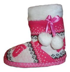 Girls Slippers Knitted Slipper Boots Pink Knit Pattern UK Child Size 12 - 13  NEW Knitted 25793f54e