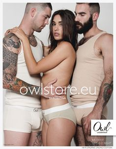 Owl Underwear Campaing 15/16 organic undyed cotton sustainable threesome is better