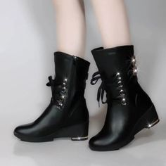 Buy Autumn and Winter Women's Boots Side Zipper Round Head Martin Boots Fashion Stovepipe Increased Female Boots Leather Boots at Wish - Shopping Made Fun Stray Cat Strut, Martin Boots, Wish Shopping, Leather Boots, Color Black, High Heels, Plush, Zipper, Female