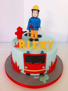 Fireman Sam Cake by BellasBakery cake decorating website Fireman Sam Birthday Cake, Fireman Sam Cake, 3rd Birthday Cakes, Fireman Party, Fisherman Cake, Police Cakes, Fire Cake, Fire Fighter Cake, Brithday Cake