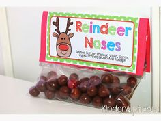 FREE Reindeer Noses printable. Quick and fun snack to make :)