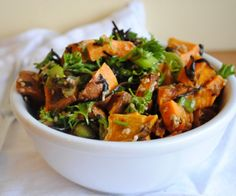 This salad is full of flavour and nutrition. Sweet potatoes, parsley, green onion, seaweed and much more combine to make a great dish.