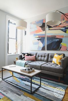 """A Living Room Revamp: ScoutSixteen x West Elm x Homepolish - Color comes into the space in the art, rug and <a href=""""http://www.westelm.com/products/kisanii-pillow-cover-plantain-natural-t1013/?cm_src=pillows