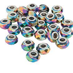 Rainbow AB Finish Faceted Large Hole Beads - TerrysVillage.com