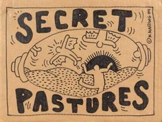 """Keith Haring """"Secret Pasture"""" feutre sur carton, 31 x 41 cm 1984"""
