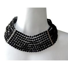 Pre-owned Kenneth Jay Lane  Multi Strand Black Beads Crystal Choker ($139) ❤ liked on Polyvore featuring jewelry, necklaces, accessories, black, crystal choker necklace, beading necklaces, layered chain necklace, beaded choker necklace and choker necklace