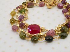 Genuine tourmaline bracelet Rosary chain bracelet by ShopPretties