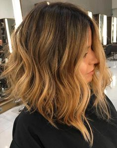 Angled Lob With Caramel Ombre Balayage | visit 40plusstyle.com for more fashion tips!