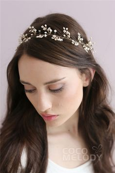 Classic Gold Wedding Headpiece with Pearl SAH014 #cocomelody
