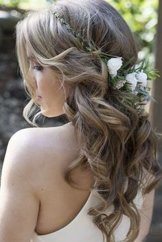 Country Blue Wedding Inspiration – Rustic Wedding Chic Previous Post Next Post Wedding Hair Down, Wedding Hair And Makeup, Bridal Hair, Hair Makeup, Makeup Hairstyle, Hairstyle Ideas, Wedding Updo, Hair Ideas, Rustic Wedding Hairstyles