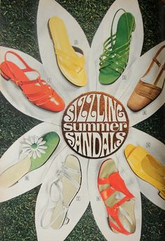 Shoes womens shoes sandals - all bright colors! - fashion history for women. A return to youth, shocking colors, shorter hemlines, pop art and the hippie movement. What did women wear? Fashion Art, 1960s Fashion, Fashion History, Fashion Shoes, Vintage Fashion, Mod Fashion, Fashion Women, Sporty Fashion, Patti Hansen
