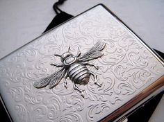 Big Cigarette Case Victorian Bee Silver Plated Metal Wallet Vintage Style Oversized Card Case Large Card Holder. $55.00, via Etsy.