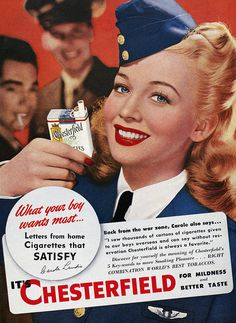 CAROLE LANDIS for Chesterfield cigarettes - Visit 'Virtual Scrapbook' by Gerald Lyda on Pinterest for more than 170,000 categorized celebrity images.