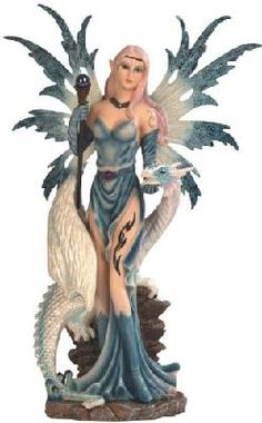 Blue Ice Fairy with Staff and Ice Dragon On Rock Fantasy Figurine