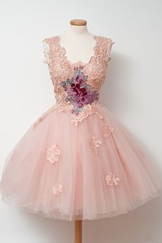 Charming Prom Dress, Tulle Homecoming Dress,Lace Prom Gown,Elegant