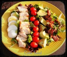 Paleo Cobb Salad  Spinach, hardboiled egg, chicken, cherry tomatoes, avocado, and bacon. Drizzle with olive oil. Yum!