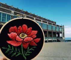 Current piece in front of photo Embroidery Needles, Hand Embroidery Stitches, Beaded Embroidery, Cross Stitch Embroidery, Embroidery Patterns, Tessa Perlow, Love Art, Textile Art, Needlework