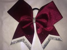 Maroon & White with Silver glitter accents CUSTOM  Chevron tail Cheer Bow * Your Team Colors ~ Firm Stiff Structured ~ Made to Last! by TheCheerBowBabe on Etsy