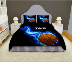 Sport Bedding Set for Boys in Basketball Theme with Personalization.
