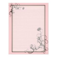 Optional Lines Letterhead with Floral Frames Pink. Delete the line graphic if you prefer unlined letter writing paper. Use the customize it button to change the background color to change the stationery to suit your needs - the writing area and frame will change to the shade you choose. Pin for later! #paperswriting #linedwritingpaper #howtowriteaphilosophypaper #writemypaperforme Printable Lined Paper, Free Printable Stationery, Templates Printable Free, Free Printables, Art Journal Prompts, Journal Paper, Journals, Lined Writing Paper, Writing Papers
