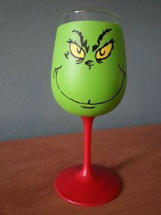 "Wine Glasses Hand Painted Grinch Wine Glass Wine Glass Candle Holders Painted Wine Glasses Hand-Painted ""Naughty or Nice"" Christmas Wine Glass Hand Painted Diy Wine Glasses, Decorated Wine Glasses, Hand Painted Wine Glasses, Diy Christmas Wine Glasses, Wine Glass Crafts, Wine Bottle Crafts, Wine Bottles, Le Grinch, Grinch Christmas"